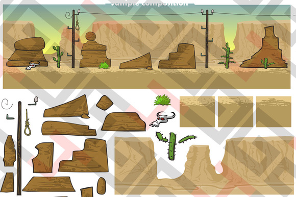 Desert Background And Tilesets