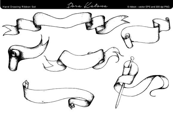 Hand Drawing Ribbon Set