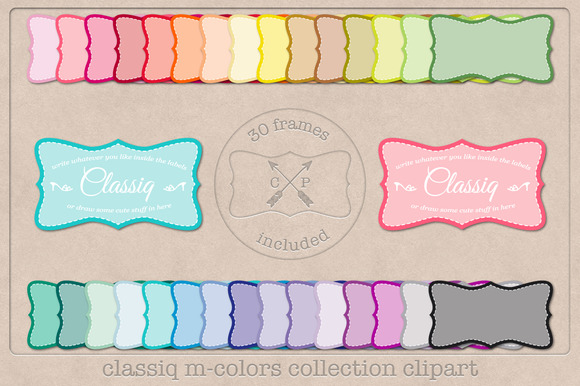 Stitched Vintage Labels Clipart