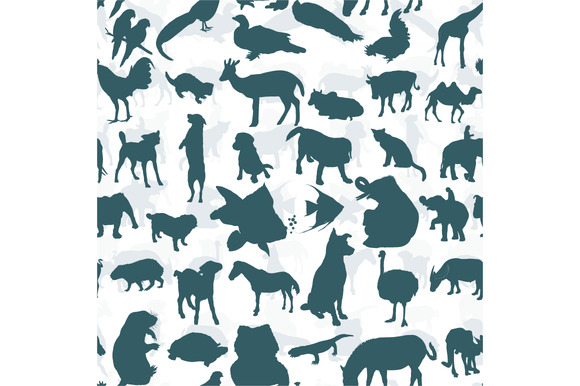 Seamless Of Silhouette Set Of Animal