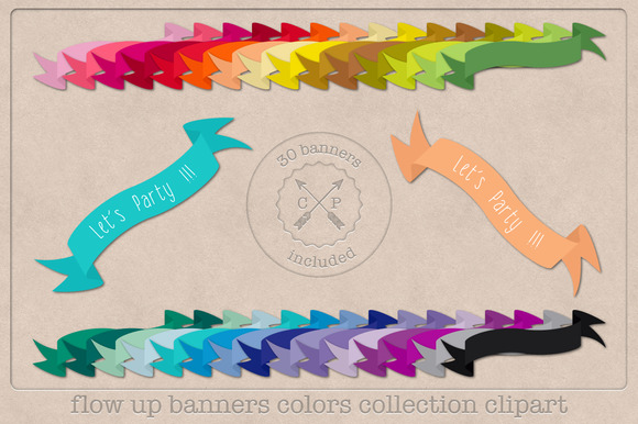 30 Colors Ribbons Banners Clipart