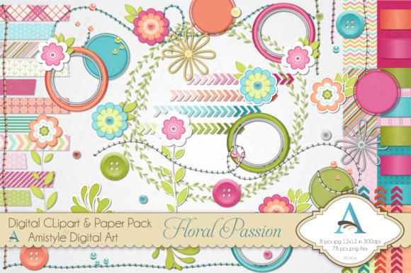 Floral Passion Digital Clipart Set