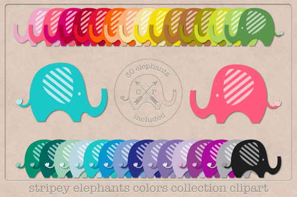 Stripey Elephant Clipart