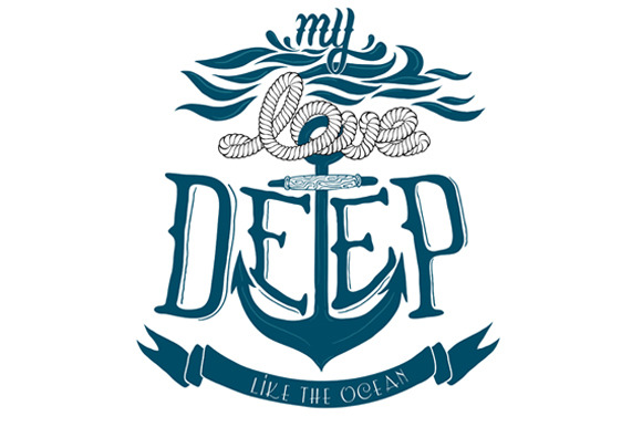 Vector Quote About Love Navy Design