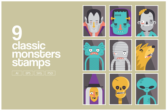 Classic Monsters Stamp