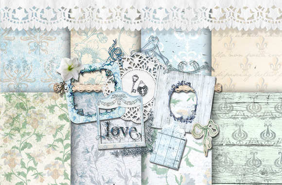 Romantic Lily Flower Shabby Pack