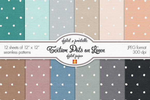 Polka Dots Linen Digital Paper