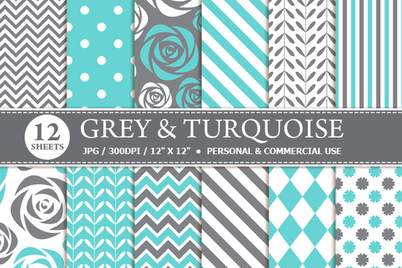 Grey Turquoise Digital Paper