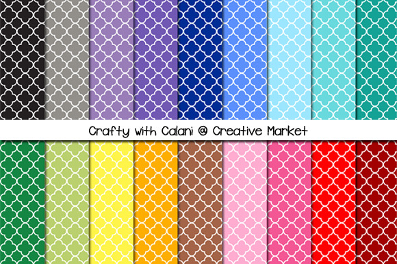 Rainbow Quatrefoil Digital Paper