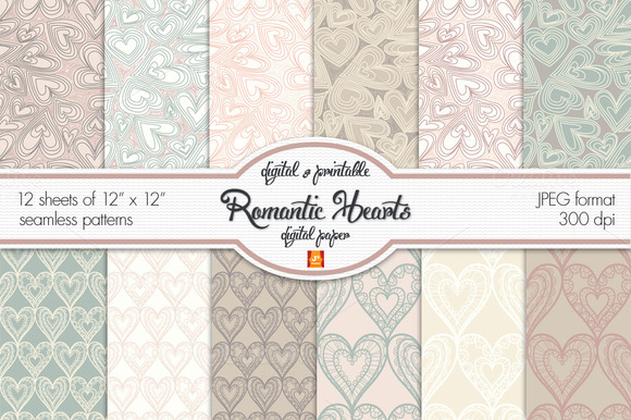 Romantic Heart Digital Paper