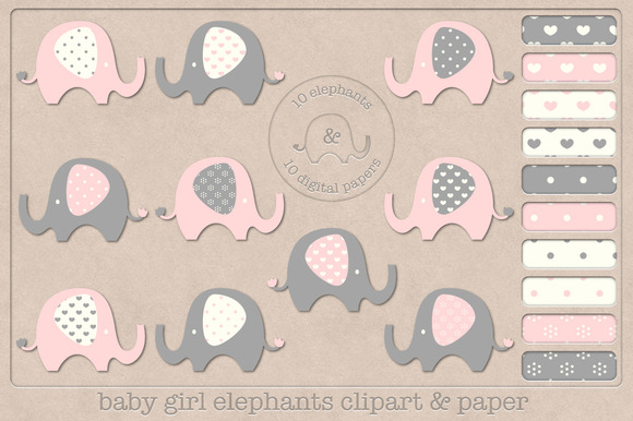 Baby Girl Elephants Clipart