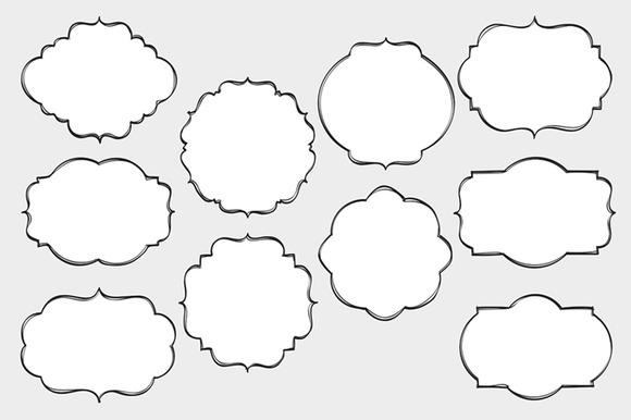 Digital Hand Drawn Frames Set