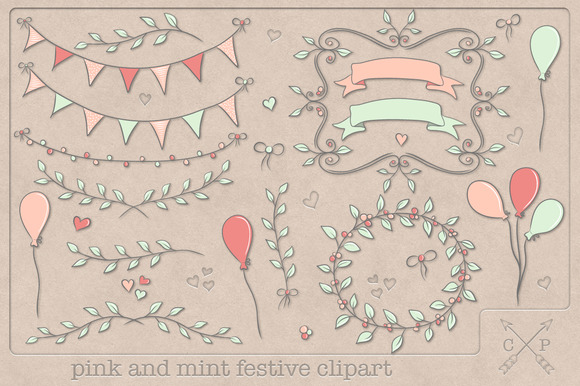 Pink And Mint Festive Clipart