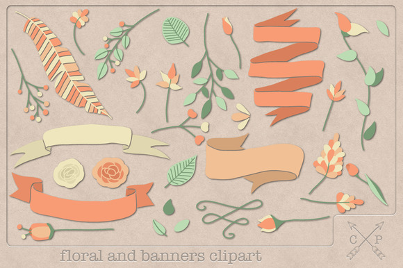 Floral And Banners Clipart Elements