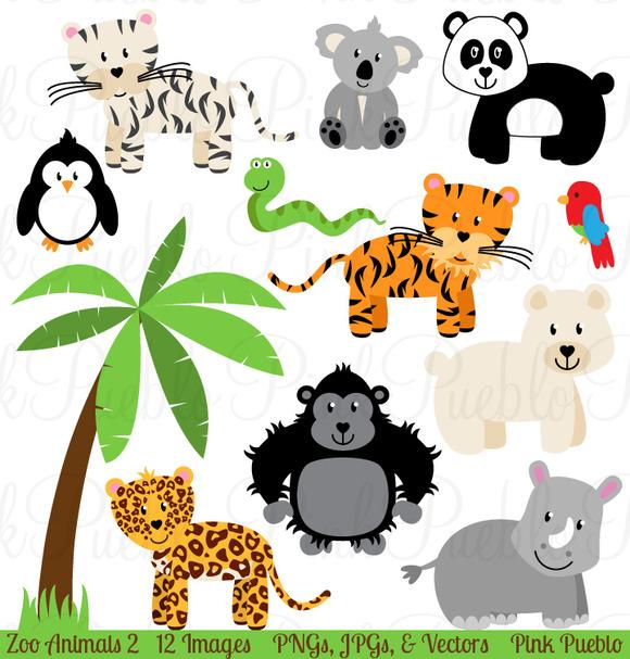Zoo Jungle Animals Clipart Vectors