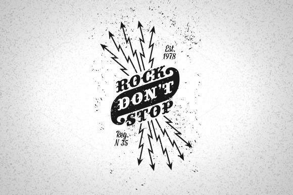 Vintage Label Rock Don T Stop