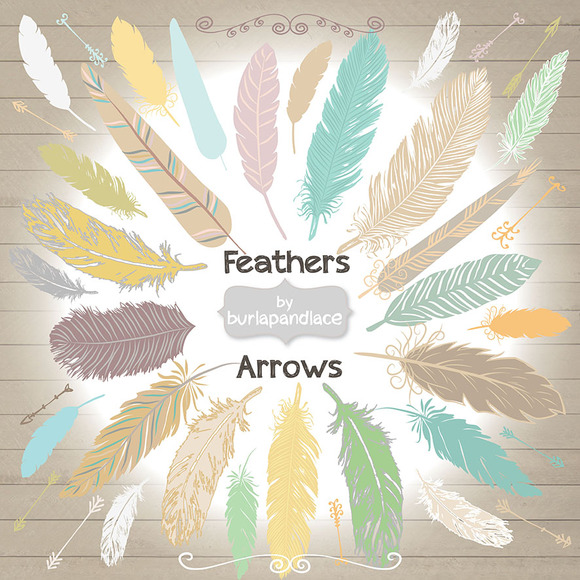 Hand Drawn Clipart Feathers Arrows
