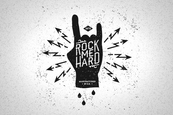 Vintage Label Rock Me Hard