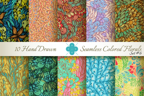 10 Colored Seamless Florals Set #6