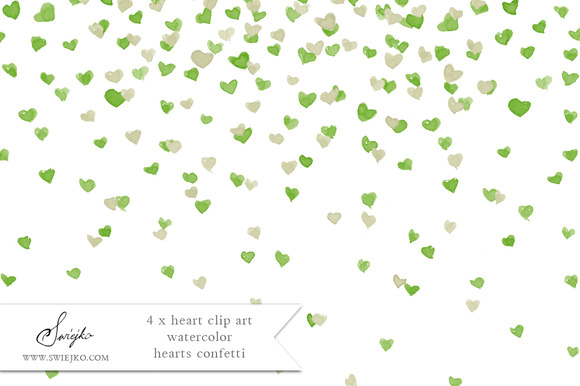 Heart Clip Art Watercolor Confetti