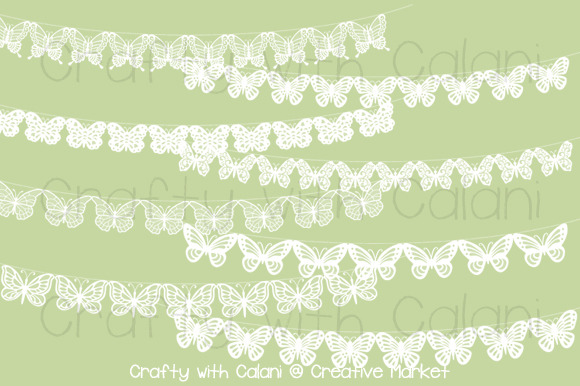 White Butterfly Lace Bunting