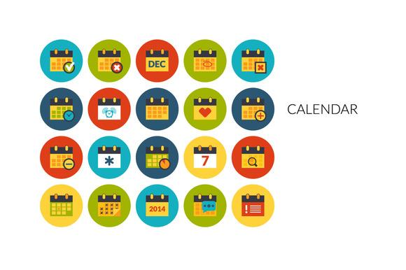 Flat Icons Set Calendar