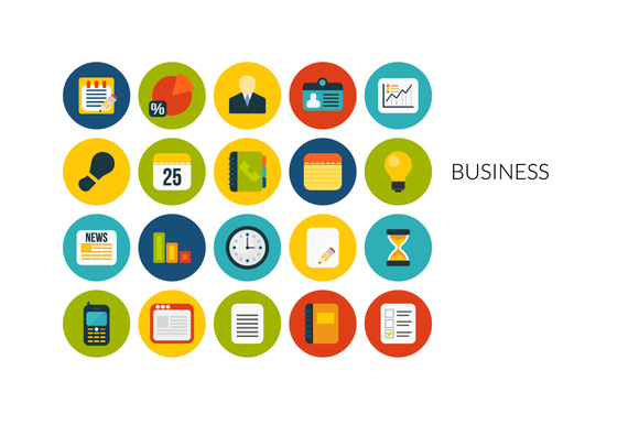 Flat Icons Set Business