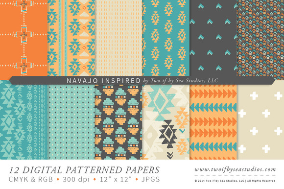 Navajo Inspired 12 Digital Papers