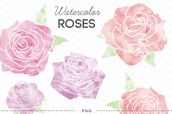 Watercolor Flowers Roses Clip Art