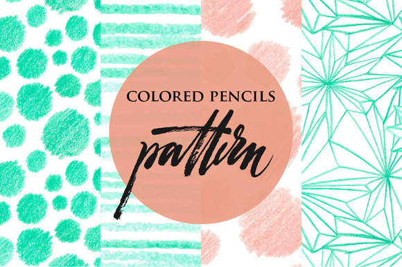 Set Of Colored Pencils Patterns