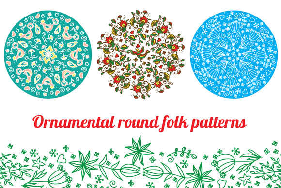 Ornamental Round Folk Patterns