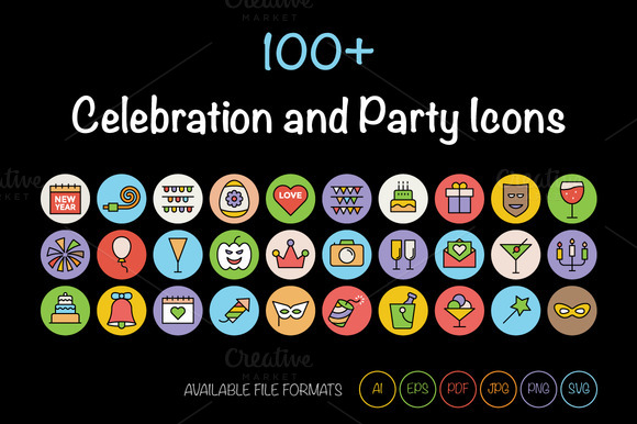 100 Celebration And Party Icons