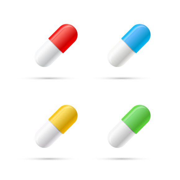 Set Of Different Colours Pills