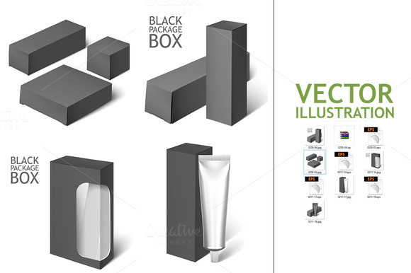 Black Realistic Box Mockup Template
