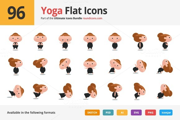 96 Yoga Flat Icons