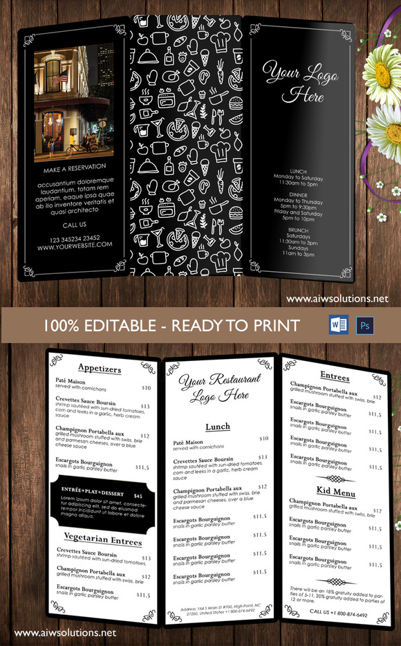 free bi fold menu templates designtube creative design content. Black Bedroom Furniture Sets. Home Design Ideas