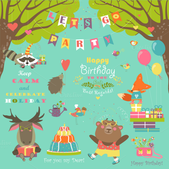 Birthday Party Elements With Animals