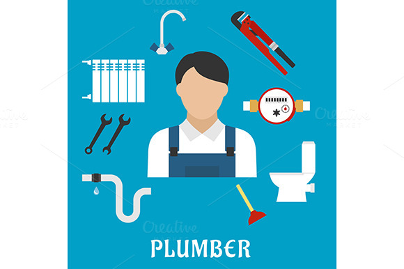 Stock Graphic Plumber Profession Icons 187 Logotire Com