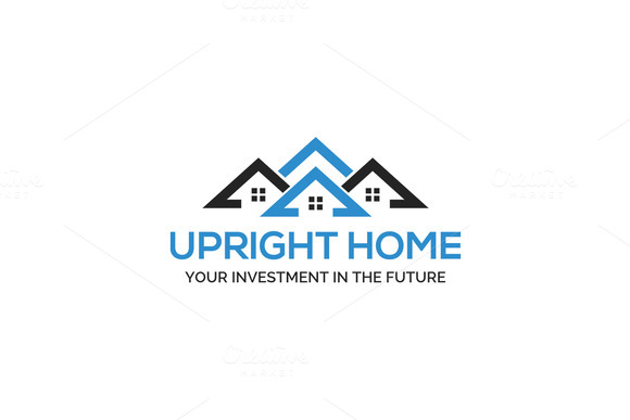 Upright Home Logo Template