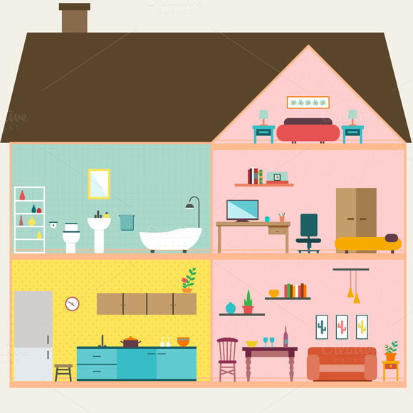 Cartoon house inside backgrounds designtube creative for House inside images