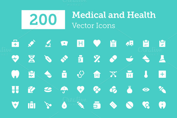 200 Medical And Health Vector Icons