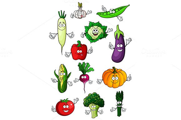 Cartoon Farm Vegetables