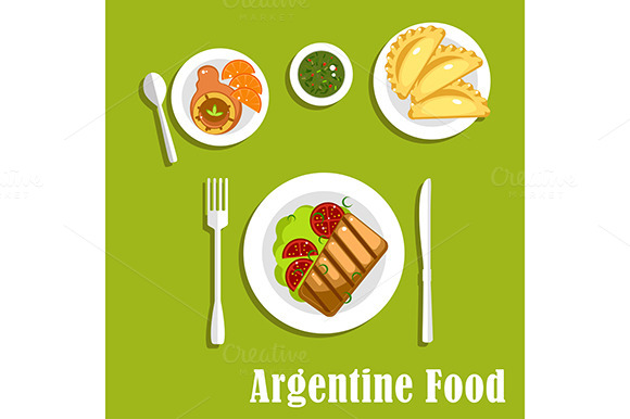Stock graphic creativemarket traditional argentine for Artistic argentinean cuisine