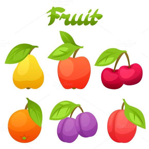 Set Of Stylized Fresh Fruits