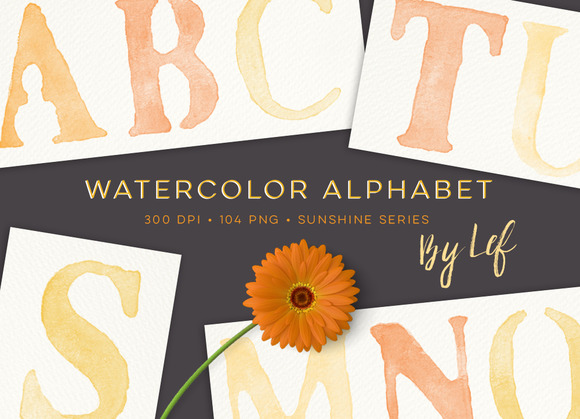 Watercolor Letters Alphabet Graphics