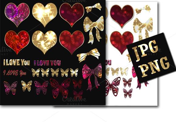 Set Of Shiny Hearts Stickers