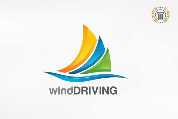 Wind Driving Logo Design Premium