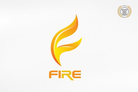 Letter F Fire Logo Design Premium