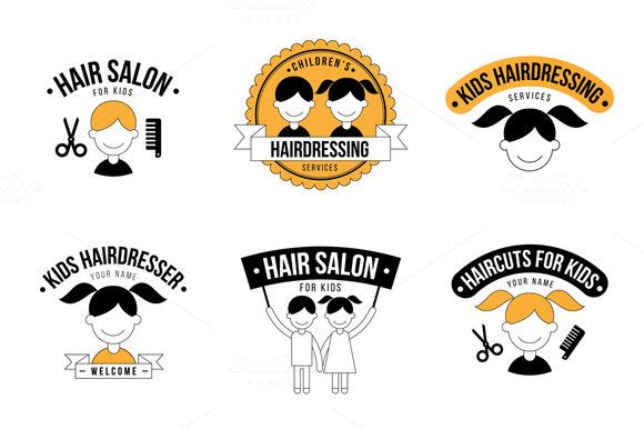 Set Of Kids Hair Salon Logo Graphics