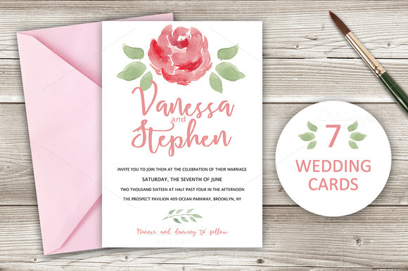 Wedding Invitations Pack 7 Cards